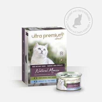 36 boîtes de mousse pour chat sans céréales – Natural mousse sole / poulet